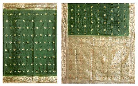 Dark Green Ghicha Silk Sari with Beige Border and Pallu