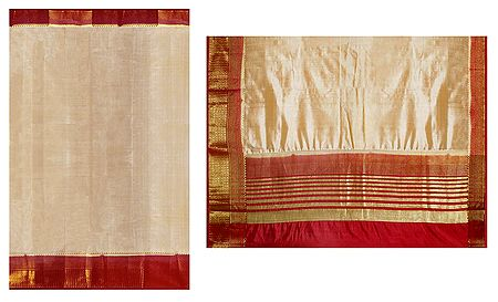 Beige Cotton Silk Saree with Red and Golden Border