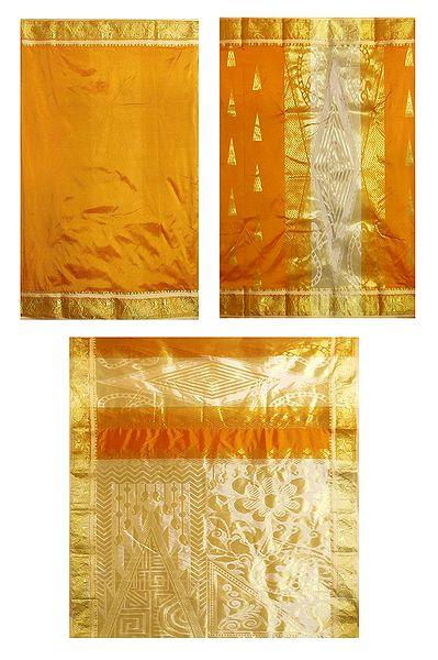 Yellow with White Ghicha Silk Half N Half Saree with Zari Design
