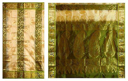 Yellow with Green Ghicha Silk Saree with Zari Design