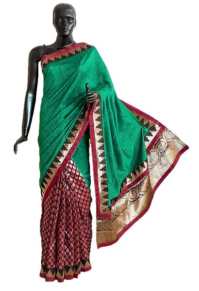Green and Maroon Half N Half Ghicha Silk Saree with Golden Zari Design