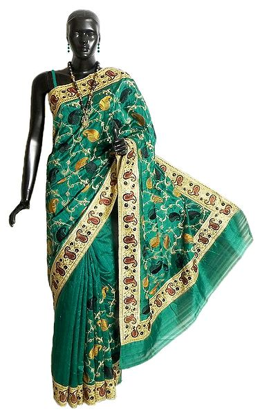 Dark Cyan Dupion Silk Saree with Paisley Embroidery