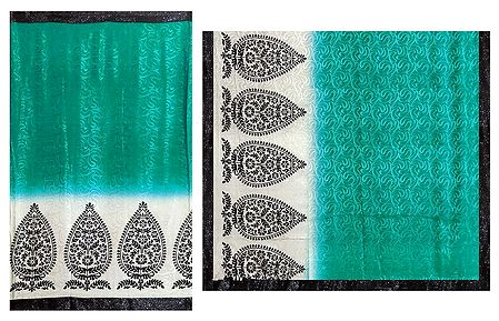 Self Design Cyan Blue Satin Silk Saree with Black and White Printed Border and Pallu