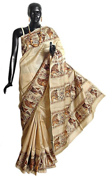 Hand Painted and Embroidered Designer Tussar Saree with Border and Pallu