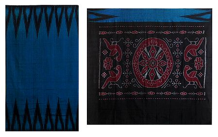 Ikkat Design on Dark Blue Cotton Saree