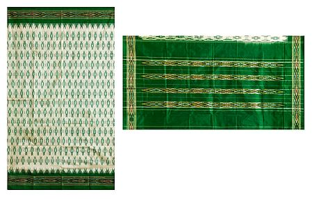 Ikkat Design on Ivory Silk Saree with Green Border and Pallu