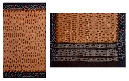 Peach Katki Cotton Saree with Ikkat Design