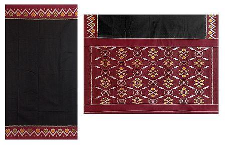 Black Orissa Cotton Saree with Ikkat Border and Pallu