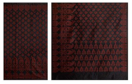 Black Jute Cotton Saree with Red Heart Design