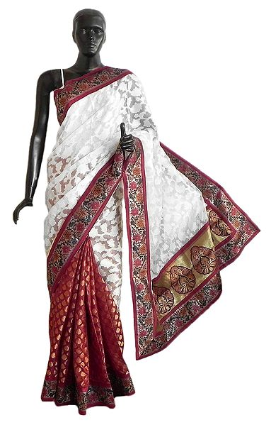 Maroon and White Jute Silk Saree with Zari Border and Pallu