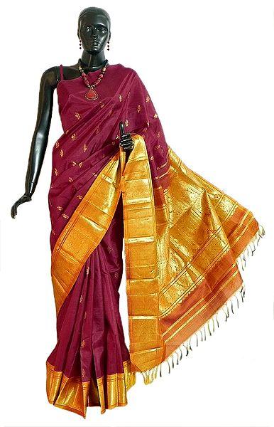 Maroon Kanjivaram Silk Saree with All-Over Zari Boota and One Sided Zari Border with Yellow Pallu from Tamilnadu