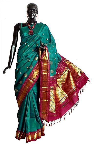 Midnight Green Kanchipuram Silk Saree with All-Over Zari Boota and One Sided Zari Border with Maroon Pallu from Tamilnadu