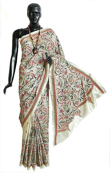 Off-White Art Silk Saree with Gorgeous Kantha Stitch Embroidery All Over