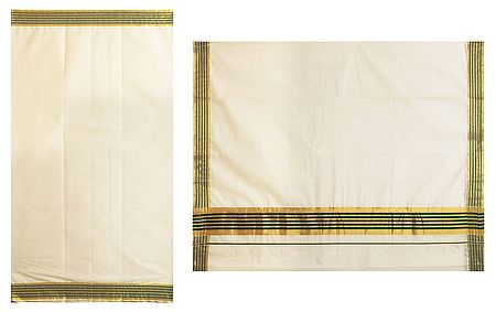 Off-White Kasavu Saree with Green and Golden Zari Border
