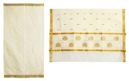 Ivory Color Kasavu Saree with Golden Zari Border and Pallu