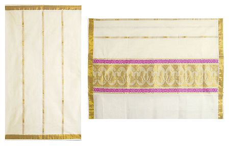 Off-White Kasavu Saree with Zari Border and Pallu