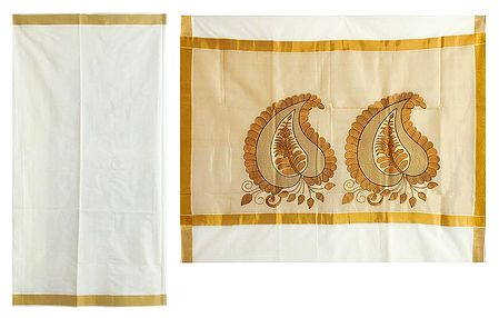 Off-White Kasavu Saree with Embroidered Pallu and Golden Border