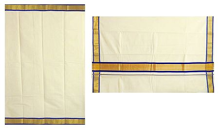Off-White Kasavu Saree with Blue and Golden Zari Border and Pallu