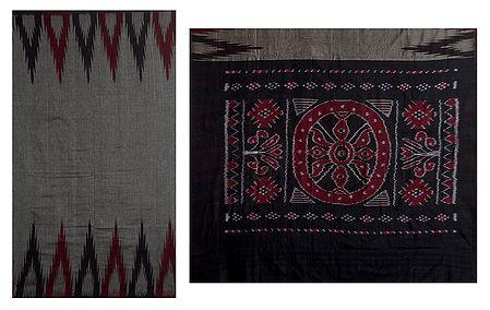 Ikkat Design on Grey Orissa Cotton Saree