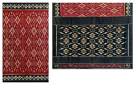 Ikkat Design on Maroon Cotton Saree with Black Border and Pallu