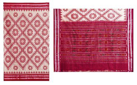 Red Ikkat Design on White Cotton Saree