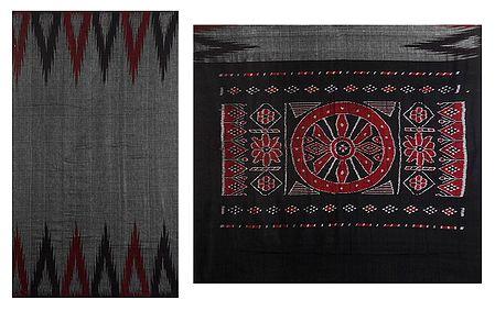 Ikkat Temple Design on Grey Half and Half Orissa Cotton Saree