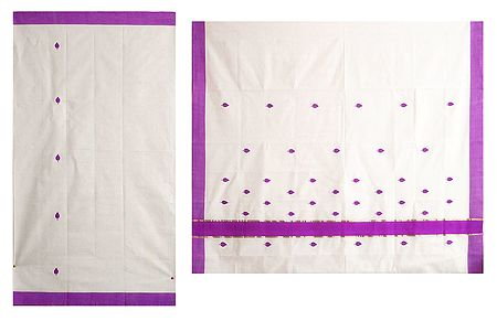 Off White Kerala Cotton Saree with Mauve Border