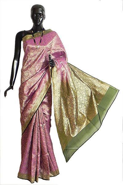 Magenta with Golden and Green Banarasi Kora Silk Saree with All-Over Design, Border and Gorgeous Pallu