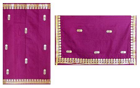Magenta Cotton Silk Kota Saree with Zari Applique