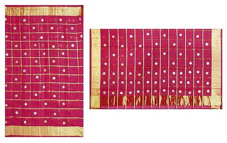 Red Cotton Silk Kota Saree with Zari Applique