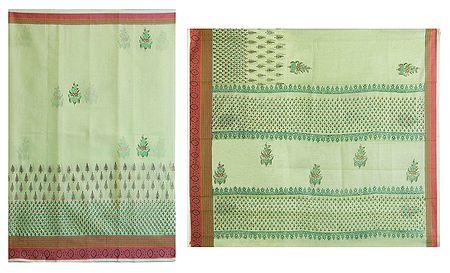 Print on Light Green Cotton Silk Kota Sari