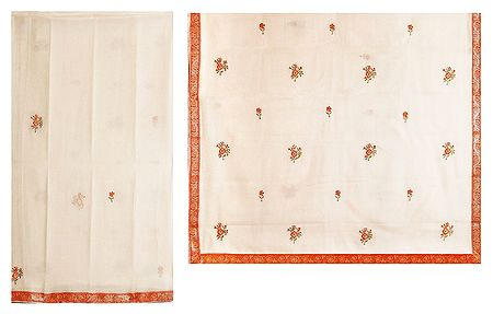 Embroidery on Ivory Cotton Silk Kota Sari with Zari Border