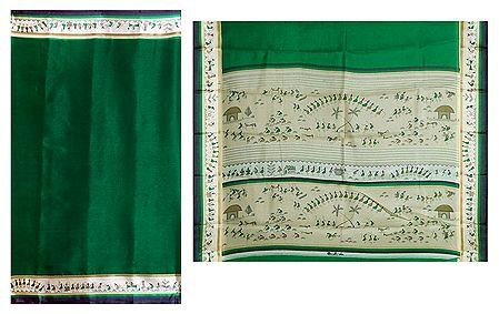 Green Kota Cotton Silk Saree with Worli Print Border and Pallu