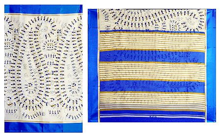 White Kota Cotton Silk Saree with Worli Print and Blue Border