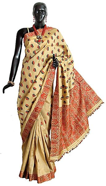 Light Beige Assam Moonga Tussar Silk Saree with Black and Red Weaved Border and Pallu