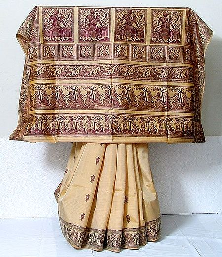 Light Beige Color Baluchari Silk  Saree with Maroon Woven Threadwork Border and Pallu