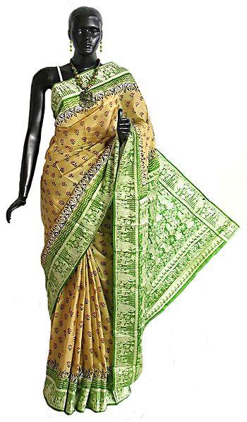 Light Beige Silk Saree with Light Green Baluchari Design Border