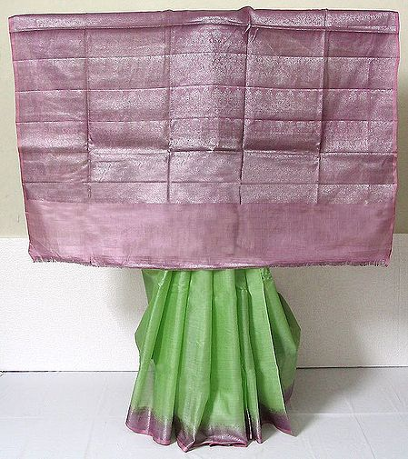 Light Green Tussar Silk Saree with Light Pink Border and Pallu with Weaved Silver  Work