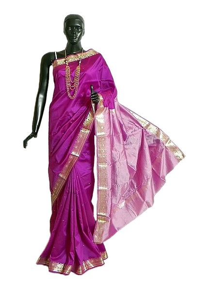 Magenta South Silk Saree with All-Over Zari Boota, Zari Border and Light Pink Pallu