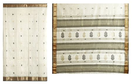Black and Golden Boota on Ivory Maheshwari Saree from Madhya Pradesh