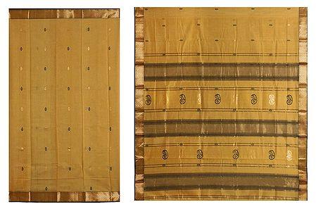 Black and Golden Boota on Chrome Yellow Maheshwari Saree from Madhya Pradesh