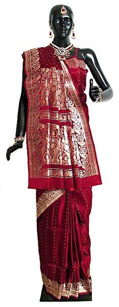 Maroon Banarasi Satin Silk Saree with Golden Zari Border and Pallu