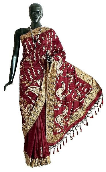 Maroon Dupion Silk Saree with All-Over Sequin qnd Zari Embroidery