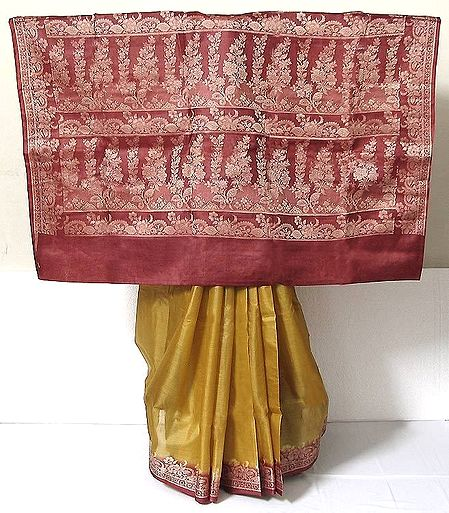 Mustard Yellow Tussar Silk Saree with Maroon Border and Pallu with Weaved Threadwork