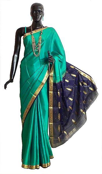 Persian Green Mysore Crepe Silk Saree with Dark Blue Border and Pallu with Zari