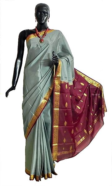Grey Mysore Crepe Silk Saree with Maroon Border and Pallu with Zari