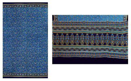 Print on Cyan Blue Crepe Silk Saree with Border and Pallu