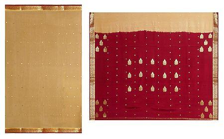 Beige Mysore Crepe Silk Saree with Dark Red Border and Pallu with Zari