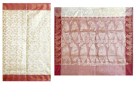 Jamdani Weaved Design All-Over on White Net Saree