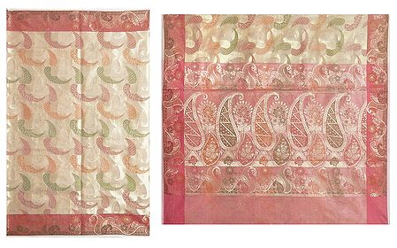 Jamdani Weaved Design All-Over on Beige Net Sari